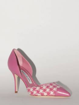 90mm Taylerbi Leather & Tweed Pumps Manolo Blahnik 70IXDM001-OTcxNA2