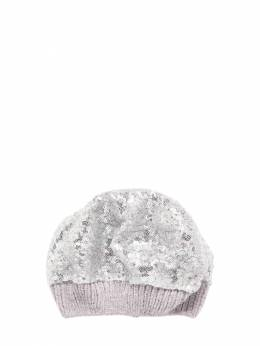 Sequined Chenille Hat Monnalisa