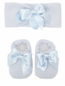 Knit Socks & Headband Set W/ Satin Bow La Perla 70IOF8003-WTVH0
