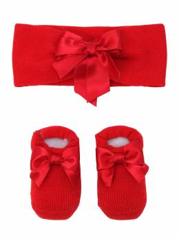 Knit Socks & Headband Set W/ Satin Bow La Perla 70IOF8003-WUFF0