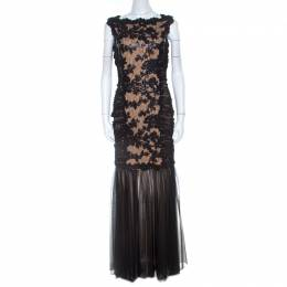 Tadashi Shoji Black Lace and Tulle Floral Sequin Embellished Gown M 208405