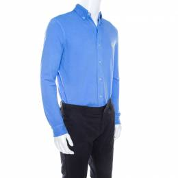Ralph Lauren Featherweight Mesh Cabana Blue Cotton Pique Knit Long Sleeve Shirt S