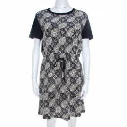 Louis Vuitton Navy Blue Jersey and Silk Printed Monogram Dress M 208388