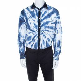 Dsquared2 Indigo Cotton Tie Dye Effect Denim Trim Relaxed Dan Shirt L 208110