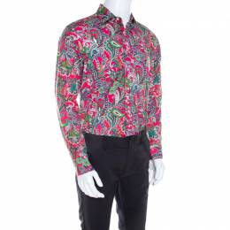 Etro Pink Paisley Printed Cotton Long Sleeve Shirt L 207089