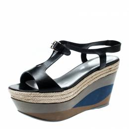Sergio Rossi Black Leather Ankle Strap Wedge Sandals Size 36.5