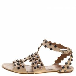 Alaia Beige Stud Embellished Cutout Suede Ankle Strap Flat Sandals Size 39.5 129837