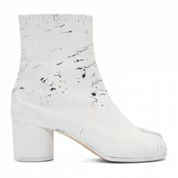 Maison Margiela SSENSE Exclusive Black White-Out Tabi Boots 192168F11300711GB