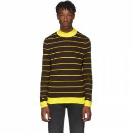 Acne Studios Brown and Yellow Striped High-Neck Slim Sweater 192129M20101003GB