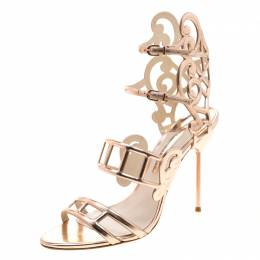 Sophia Webster Metallic Rose Gold Cut Out Leather Birdie Strappy Sandals Size 41 208433