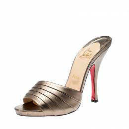 Christian Loubotuin Metallic Bronze Leather Charmula Open Toe Sandals Size 39 Christian Louboutin 208415