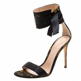 Gianvito Rossi Black/Yellow Jacquard Fabric Ankle Strap Open Toe Sandals Size 41 208657