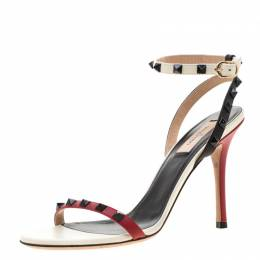 Valentino Tricolor Leather Rockstud Ankle Strap Sandals Size 39 208444