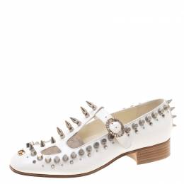 Gucci White Leather And Canvas Spike/Stud Embellished Loafer Pumps Size 39 208450