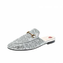 Gucci Silver Glitter Leather Princetown Flat Slide Loafers Size 40.5 208522