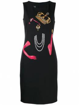 Boutique Moschino - платье миди Queen с принтом 59693595060369000000