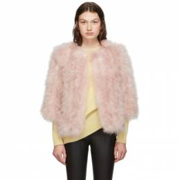 Yves Salomon Pink Feather Jacket 192594F06202003GB