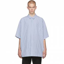 Juun.J Navy and White Pinstripe Short Sleeve Shirt 192343M19200302GB