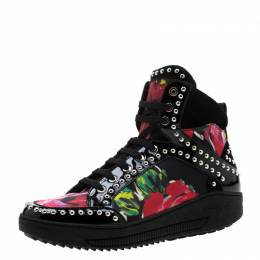 Dsquared2 Multicolor Floral Print Canvas And Patent Leather Studded High Top Sneakers Size 38 208832