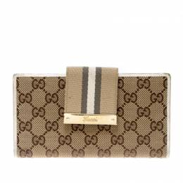 Gucci Beige/White GG Canvas and Leather Web Original Continental Wallet 208332