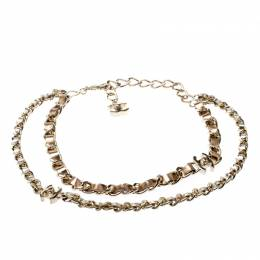 Chanel CC Turnlock Metallic Leather Gold Tone Double Chain Necklace 208263