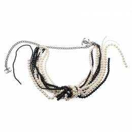 Chanel Faux Pearl Black Bead Multi Strand Tassel Necklace 208268