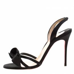 Christian Louboutin Black Satin Bow Slingback Open Toe Ankle Strap Sandals Size 39 208671