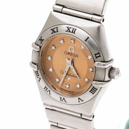 Omega Bronze Stainless Steel Diamond Cindy Crawford Constellation 1564.65 Women's Wristwatch 22 mm 201103