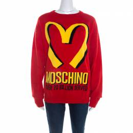 Moschino Couture Red Cashmere McDonald Logo Crew Neck Sweater M 208201