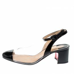 Christian Louboutin Black Leather And PVC Asticocotte Ankle Strap Sandals Size 38 208903