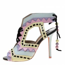 Sophia Webster Multicolor Glitter And Leather Riko Cut Out Sandals Size 37 208397