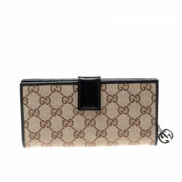 Gucci Beige/Black GG Canvas and Leather Wallet 208829