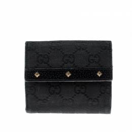 Gucci Black Studded GG Canvas and Leather Mini French Wallet 208255