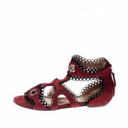 Alaia Maroon Suede Scallop Trim Eyelet Embellished Ankle Cuff Flat Sandals Size 35 207762