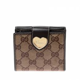 Gucci Beige/Brown GG Crystal Canvas and Leather Heart Compact Wallet 208783