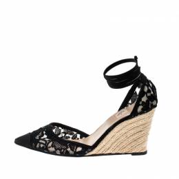 Valentino Black Lace And Mesh Espadrille Wedge Sandals Size 38 207070