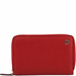 Gucci Red Pebbled Leather Zip Around Wallet 208192