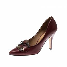 Salvatore Ferragamo Burgundy Leather And Python Trim Bow Pointed Toe Pumps Size 37 207195