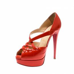 Christian Louboutin Orange Leather Platform Sandals Size 38.5 208881