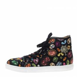 Charlotte Olympia Multicolor Jewel Print Canvas High Top Sneakers Size 39.5 150009