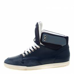 Dior Blue/White Leather High Top Sneaker Size 41 208408