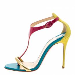 Christian Louboutin Multicolor Patent Leather and Suede T Strap Open Toe Sandals Size 37 207987