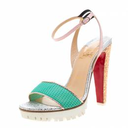 Christian Louboutin Multicolor Fabric And Leather Volumetric Ankle Strap Platform Sandals Size 38 209358