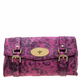 Mulberry Pink Leopard Print Leather Alexa Clutch 208627