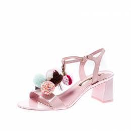 Sophia Webster Light Pink Patent Leather Jada T Strap Pom Pom Sandals Size 39 207154