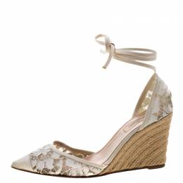 Valentino White Lace Espadrille Wedge Sandals Size 38 207783