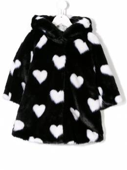 Monnalisa - love-heart faux fur coat 96356899500306600000