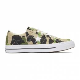 Converse Beige and Black One Star Archive Print Low Top Sneakers 192799M23703908GB