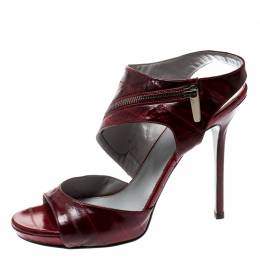 Sergio Rossi Red Eel Skin Peep Toe Ankle Strap Sandals Size 40 208960