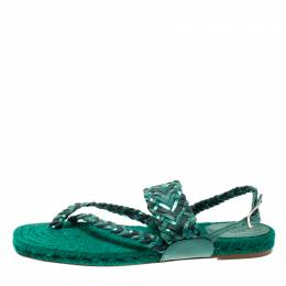 Hermes Green Braided Leather/Canvas Espadrille Flat Sandals Size 41 209472